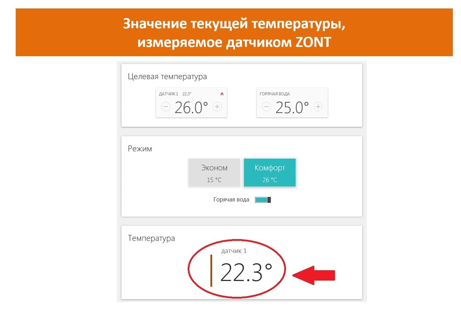 Датчик ZONT определяет текущую температуру